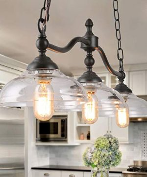 LOG BARN Dining Room Light Fixture Hanging Farmhouse Chandelier In Rustic Black Metal With Clear Glass Shades Adjustable Chains Pendant For Kitchen Island 0 300x360