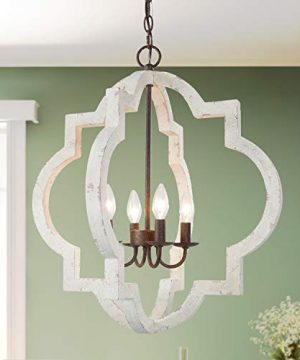 LOG BARN Farmhouse Chandelier Handmade Distressed White Large Wood Light Fixture For Dining Room Bedroom Foyer Entryway And Living Room 0 300x360