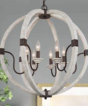 LOG BARN Orb Chandelier Wood Chandeliers Farmhouse For Dining Room Living Room Distressed White 6 Light 235 Dia 0 300x360