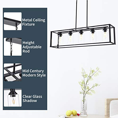 LUBURS Kitchen Island Lighting 5 Lights ChandelierBlack Pendant Lighting With Metal Adjustable RodsClear Glass Shade Vintage Pendant Ceiling Lamp For Dining Room Kitchen Living Room Farmhouse 0 0