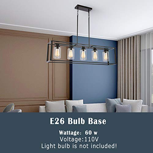 LUBURS Kitchen Island Lighting 5 Lights ChandelierBlack Pendant Lighting With Metal Adjustable RodsClear Glass Shade Vintage Pendant Ceiling Lamp For Dining Room Kitchen Living Room Farmhouse 0 1