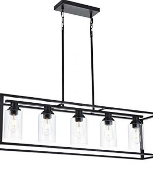 LUBURS Kitchen Island Lighting 5 Lights ChandelierBlack Pendant Lighting With Metal Adjustable RodsClear Glass Shade Vintage Pendant Ceiling Lamp For Dining Room Kitchen Living Room Farmhouse 0 300x360