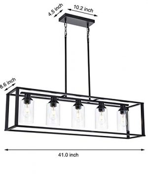 LUBURS Kitchen Island Lighting 5 Lights ChandelierBlack Pendant Lighting With Metal Adjustable RodsClear Glass Shade Vintage Pendant Ceiling Lamp For Dining Room Kitchen Living Room Farmhouse 0 5 300x360