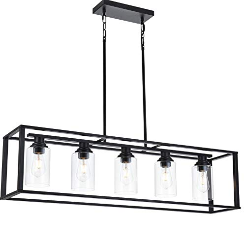 LUBURS Kitchen Island Lighting 5 Lights ChandelierBlack Pendant Lighting With Metal Adjustable RodsClear Glass Shade Vintage Pendant Ceiling Lamp For Dining Room Kitchen Living Room Farmhouse 0