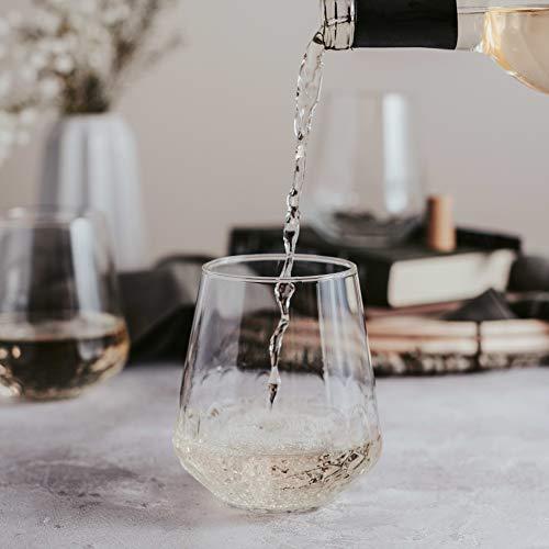 Libbey Purpose Stemless Wine Glasses Set Of 8 Hammered Base 1775 Oz 0 1