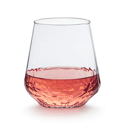 Libbey Purpose Stemless Wine Glasses Set Of 8 Hammered Base 1775 Oz 0