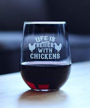 Life Is Better With Chickens Stemless Wine Glass Cute Chicken Themed Decor Mama Hen Gifts For Women Large 0 0 300x360