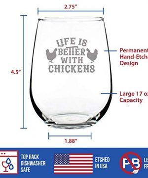 Life Is Better With Chickens Stemless Wine Glass Cute Chicken Themed Decor Mama Hen Gifts For Women Large 0 2 300x360