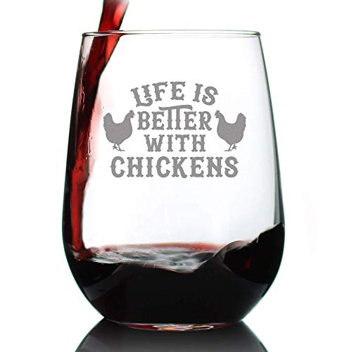 Life Is Better With Chickens Stemless Wine Glass Cute Chicken Themed Decor Mama Hen Gifts For Women Large 0