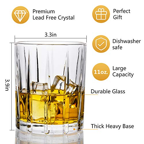 Lighten Life Whiskey Glasses Set 411oz Crystal Scotch Glasses In Luxury BoxPremium Double Old Fashioned Glass For Bourbon Cognac Cocktail LiquorRocks Glasses For Birthday Christmas Anniversary 0 1