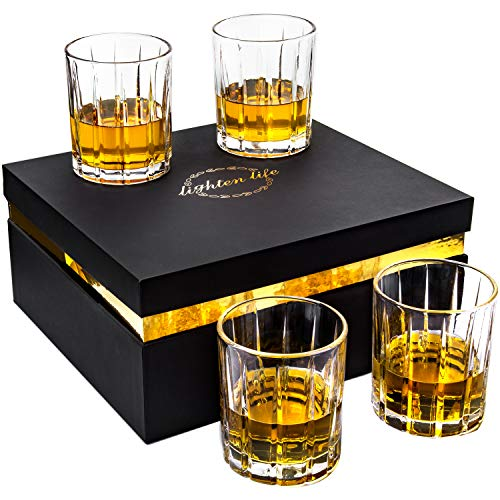 Lighten Life Whiskey Glasses Set 411oz Crystal Scotch Glasses In Luxury BoxPremium Double Old Fashioned Glass For Bourbon Cognac Cocktail LiquorRocks Glasses For Birthday Christmas Anniversary 0