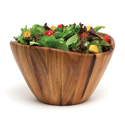 Lipper International Acacia Wave Serving Bowl For Fruits Or Salads Large 12 Diameter X 7 Height Single Bowl 0