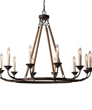 Lovedima Vintage Flaxen Hemp Rope AndMetal 12 Light Rustic Round Candelabra Chandelier In Rust 0 300x360