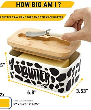 Lumicook Cow Butter Dish With Knife Farmhouse Butter Dish Covered Butter Holder Fits Two Sticks Of Butter Large Covered Tray With Bamboo Lid 0 0 300x360