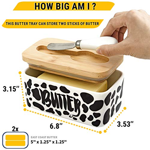 Lumicook Cow Butter Dish With Knife Farmhouse Butter Dish Covered Butter Holder Fits Two Sticks Of Butter Large Covered Tray With Bamboo Lid 0 0