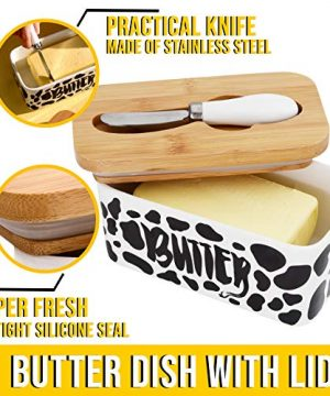 Lumicook Cow Butter Dish With Knife Farmhouse Butter Dish Covered Butter Holder Fits Two Sticks Of Butter Large Covered Tray With Bamboo Lid 0 1 300x360