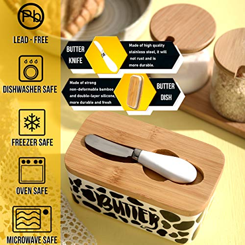 Lumicook Cow Butter Dish With Knife Farmhouse Butter Dish Covered Butter Holder Fits Two Sticks Of Butter Large Covered Tray With Bamboo Lid 0 2