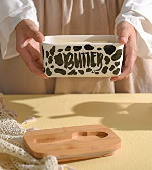 Lumicook Cow Butter Dish With Knife Farmhouse Butter Dish Covered Butter Holder Fits Two Sticks Of Butter Large Covered Tray With Bamboo Lid 0 3 300x334