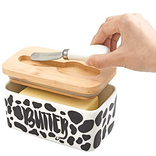Lumicook Cow Butter Dish With Knife Farmhouse Butter Dish Covered Butter Holder Fits Two Sticks Of Butter Large Covered Tray With Bamboo Lid 0 4