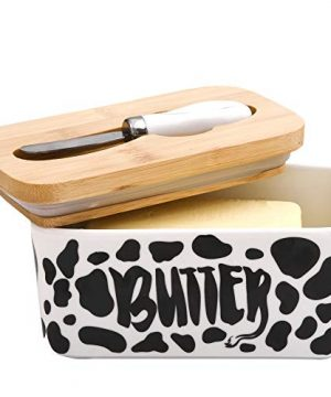 Lumicook Cow Butter Dish With Knife Farmhouse Butter Dish Covered Butter Holder Fits Two Sticks Of Butter Large Covered Tray With Bamboo Lid 0 5 300x360