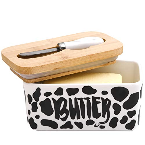 Lumicook Cow Butter Dish With Knife Farmhouse Butter Dish Covered Butter Holder Fits Two Sticks Of Butter Large Covered Tray With Bamboo Lid 0 5