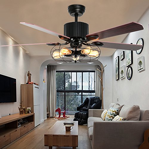 LuxureFan Retro Industrial Ceiling Fan Light For RestaurantLiving Room With Create Iron Cage Cover Pull Chain Remote And 5 Reversible Wood Leaves 52Inch 0 0