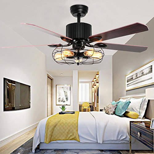 LuxureFan Retro Industrial Ceiling Fan Light For RestaurantLiving Room With Create Iron Cage Cover Pull Chain Remote And 5 Reversible Wood Leaves 52Inch 0 1