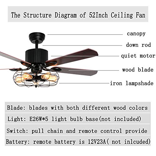 LuxureFan Retro Industrial Ceiling Fan Light For RestaurantLiving Room With Create Iron Cage Cover Pull Chain Remote And 5 Reversible Wood Leaves 52Inch 0 3