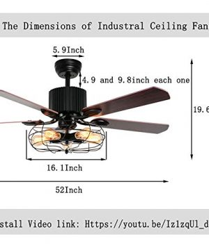 LuxureFan Retro Industrial Ceiling Fan Light For RestaurantLiving Room With Create Iron Cage Cover Pull Chain Remote And 5 Reversible Wood Leaves 52Inch 0 4 300x360