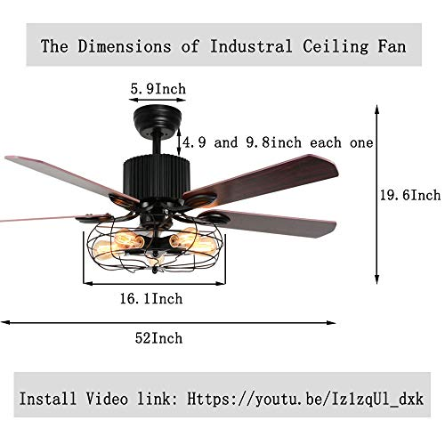 LuxureFan Retro Industrial Ceiling Fan Light For RestaurantLiving Room With Create Iron Cage Cover Pull Chain Remote And 5 Reversible Wood Leaves 52Inch 0 4
