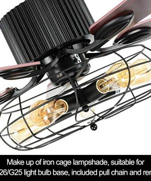 LuxureFan Retro Industrial Ceiling Fan Light For RestaurantLiving Room With Create Iron Cage Cover Pull Chain Remote And 5 Reversible Wood Leaves 52Inch 0 5 300x360
