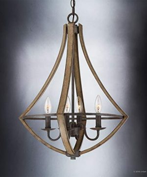 Luxury Farmhouse Chandelier Medium Size 24H X 1825W With Rustic Style Elements Wood Grain Metal With Antique Black Finish UQL2962 From The Swansea Collection By Urban Ambiance 0 1 300x360