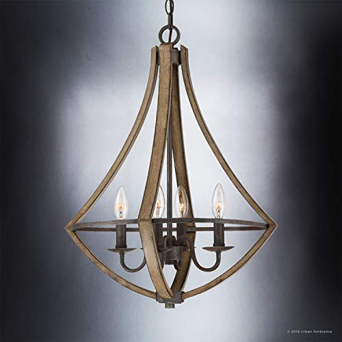 Luxury Farmhouse Chandelier Medium Size 24H X 1825W With Rustic Style Elements Wood Grain Metal With Antique Black Finish UQL2962 From The Swansea Collection By Urban Ambiance 0 1