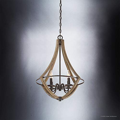 Luxury Farmhouse Chandelier Medium Size 24H X 1825W With Rustic Style Elements Wood Grain Metal With Antique Black Finish UQL2962 From The Swansea Collection By Urban Ambiance 0 2