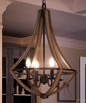 Luxury Farmhouse Chandelier Medium Size 24H X 1825W With Rustic Style Elements Wood Grain Metal With Antique Black Finish UQL2962 From The Swansea Collection By Urban Ambiance 0 300x360