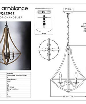 Luxury Farmhouse Chandelier Medium Size 24H X 1825W With Rustic Style Elements Wood Grain Metal With Antique Black Finish UQL2962 From The Swansea Collection By Urban Ambiance 0 4 300x360