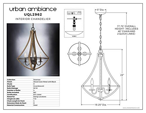 Luxury Farmhouse Chandelier Medium Size 24H X 1825W With Rustic Style Elements Wood Grain Metal With Antique Black Finish UQL2962 From The Swansea Collection By Urban Ambiance 0 4