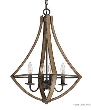 Luxury Farmhouse Chandelier Medium Size 24H X 1825W With Rustic Style Elements Wood Grain Metal With Antique Black Finish UQL2962 From The Swansea Collection By Urban Ambiance 0 5 300x360