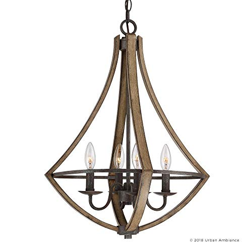 Luxury Farmhouse Chandelier Medium Size 24H X 1825W With Rustic Style Elements Wood Grain Metal With Antique Black Finish UQL2962 From The Swansea Collection By Urban Ambiance 0 5