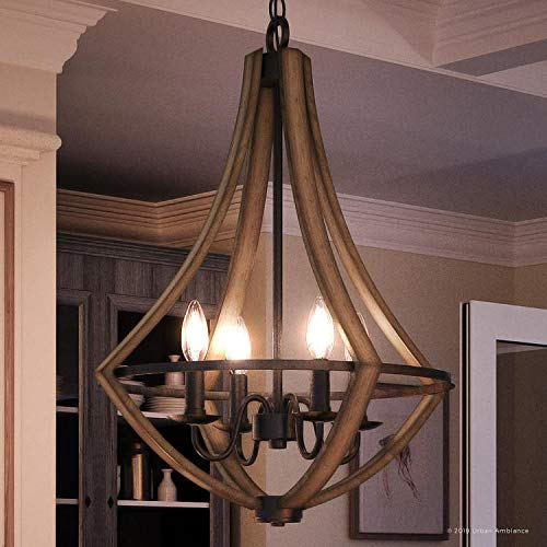 Luxury Farmhouse Chandelier Medium Size 24H X 1825W With Rustic Style Elements Wood Grain Metal With Antique Black Finish UQL2962 From The Swansea Collection By Urban Ambiance 0