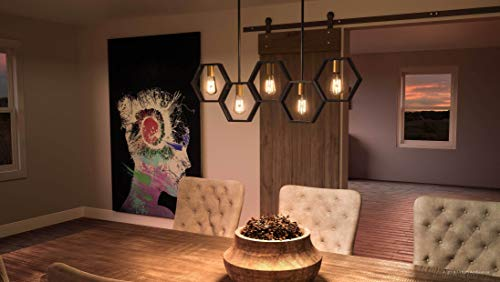 Luxury Industrial Chandelier Large Size 13H X 40W With Geometric Style Elements Natural Black Finish UQL2771 From The Venezia Collection By Urban Ambiance 0 0