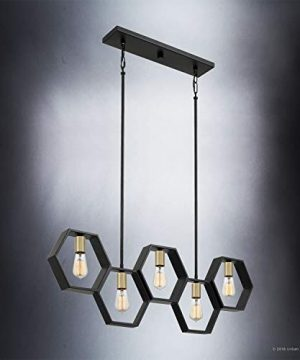 Luxury Industrial Chandelier Large Size 13H X 40W With Geometric Style Elements Natural Black Finish UQL2771 From The Venezia Collection By Urban Ambiance 0 1 300x360