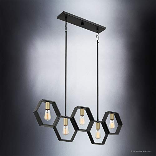 Luxury Industrial Chandelier Large Size 13H X 40W With Geometric Style Elements Natural Black Finish UQL2771 From The Venezia Collection By Urban Ambiance 0 1