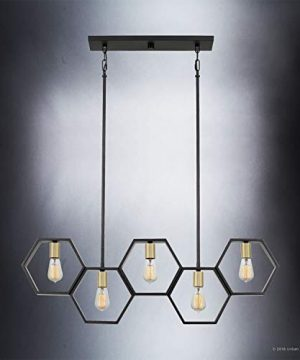 Luxury Industrial Chandelier Large Size 13H X 40W With Geometric Style Elements Natural Black Finish UQL2771 From The Venezia Collection By Urban Ambiance 0 2 300x360