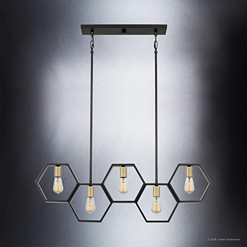 Luxury Industrial Chandelier Large Size 13H X 40W With Geometric Style Elements Natural Black Finish UQL2771 From The Venezia Collection By Urban Ambiance 0 2