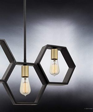 Luxury Industrial Chandelier Large Size 13H X 40W With Geometric Style Elements Natural Black Finish UQL2771 From The Venezia Collection By Urban Ambiance 0 3 300x360