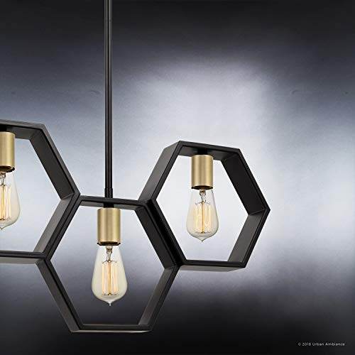 Luxury Industrial Chandelier Large Size 13H X 40W With Geometric Style Elements Natural Black Finish UQL2771 From The Venezia Collection By Urban Ambiance 0 3