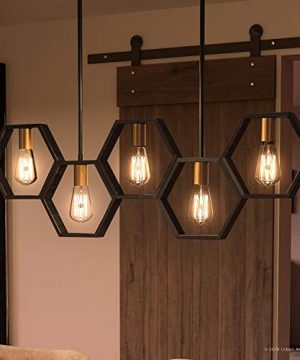 Luxury Industrial Chandelier Large Size 13H X 40W With Geometric Style Elements Natural Black Finish UQL2771 From The Venezia Collection By Urban Ambiance 0 300x360