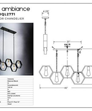 Luxury Industrial Chandelier Large Size 13H X 40W With Geometric Style Elements Natural Black Finish UQL2771 From The Venezia Collection By Urban Ambiance 0 4 300x360