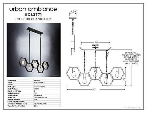 Luxury Industrial Chandelier Large Size 13H X 40W With Geometric Style Elements Natural Black Finish UQL2771 From The Venezia Collection By Urban Ambiance 0 4
